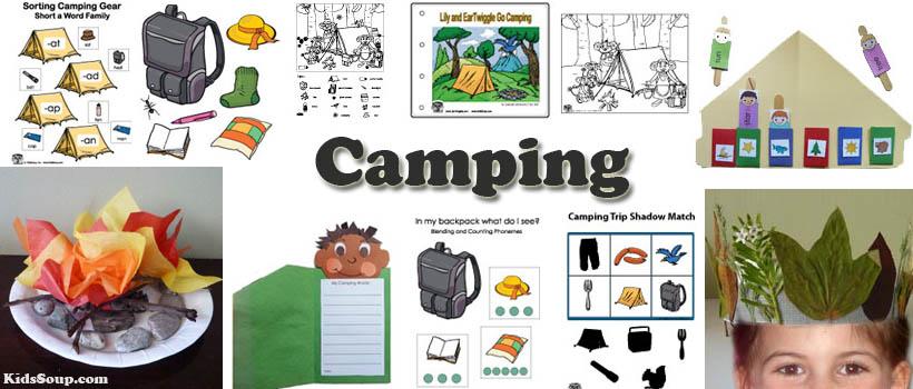 preschool and kindergarten camping activities, crafts, and games