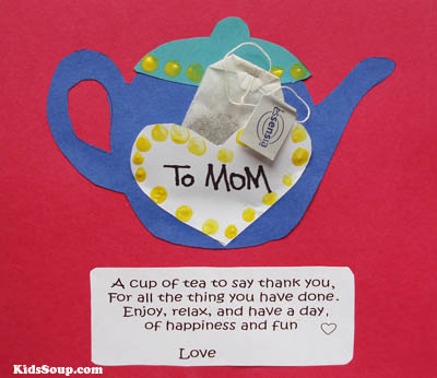 Mother's Day Tea Cup Artwork and Poem for preschool kindergarten