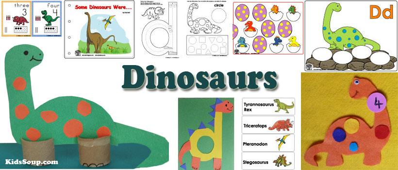 dinosaurs preschool and kindergarten activities, crafts, and games
