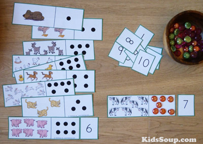 Feed the Animals number activity and printables for preschool and kindergarten