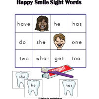 Happy Smile preschool and kindergarten sight words game