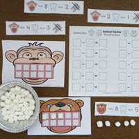 Kindergarten Animal Teeth Math Activities and printables