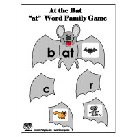 -at word family bat activity and folder game for preschool and kindergarten