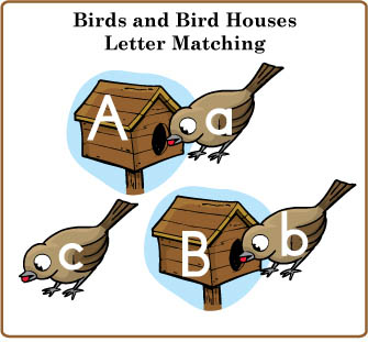 Feed the birds letters of the alphabet matching folder game for preschool