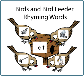 Feed the Birds word families folder game and activity for kindergarten