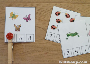 Preschool bug counting activity and printables