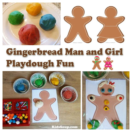 Gingerbread Man and Girl fine motor skill activity and printables
