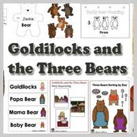 Preschool, Kindergarten, Goldilocks and the Three Bears Activities and Crafts