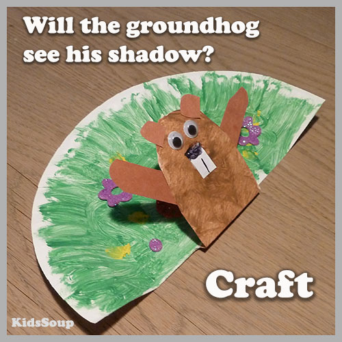 Groundhog and his shadow preschool craft and activity