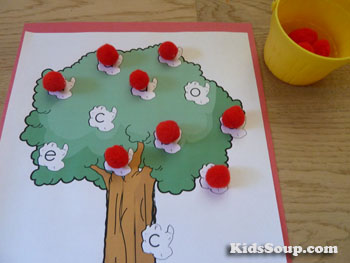 Letter A recognition and visual discrimination activity and game for preschool