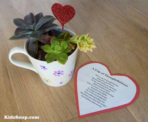 Mother's Day gift preschool craft idea tea cup with succulents