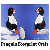 Preschool Kindergarten Penguin Footprint Craft