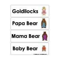 Goldilocks and the Three Bears word wall cards and activities for preschool