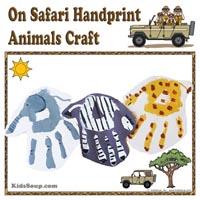 Preschool Kindergarten Zoo Animals Handprint Art and Craft