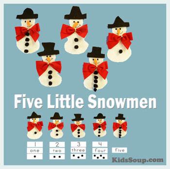Five Little Snowmen Felt Story and Activities for preschool