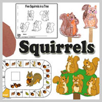 Preschool and kindergarten squirrels and acorns activities