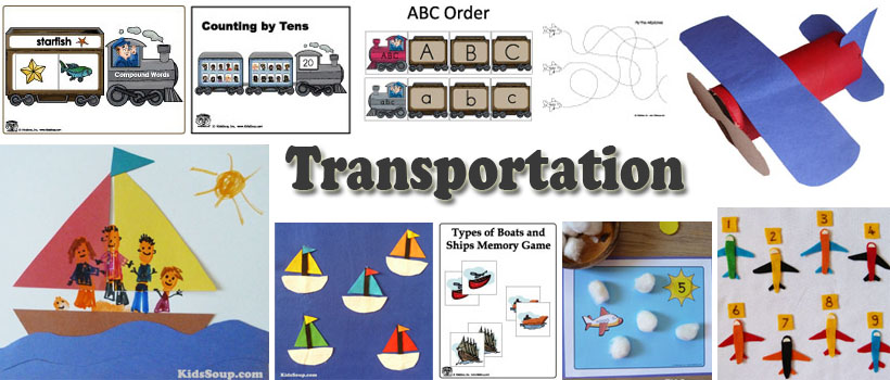 Transportation, train, ships, airplane activities and crafts