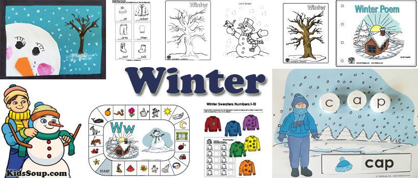 preschool and kindergarten winter activities, crafts, and games