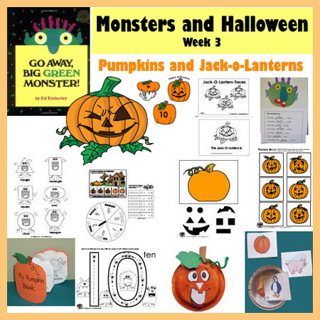 Jack-o-lantern Halloween preschool and kindergarten activities