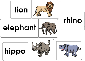 Zoo animals names preschool matching activity