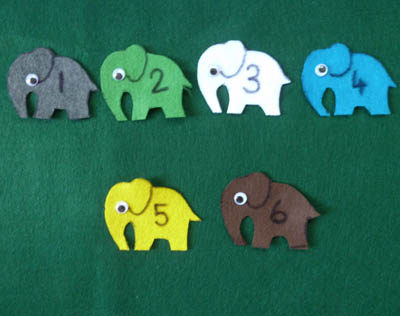 10 Elephants went out to play felt story, rhyme, and activity for preschool