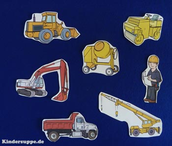 Trucks and construction vehicles felt story and activities preschool