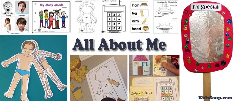 All About Me activities, lessons, crafts and printables for preschool and kindergarten