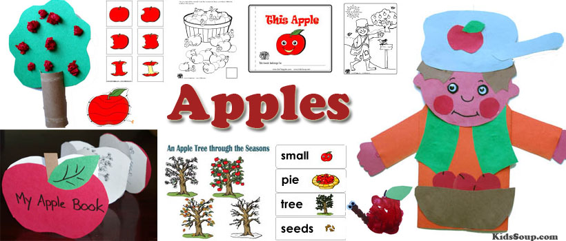 Apples activities, crafts, games, and printables for preschool and kindergarten