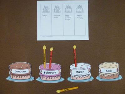 preschool and kindergarten birthday months activity and craft