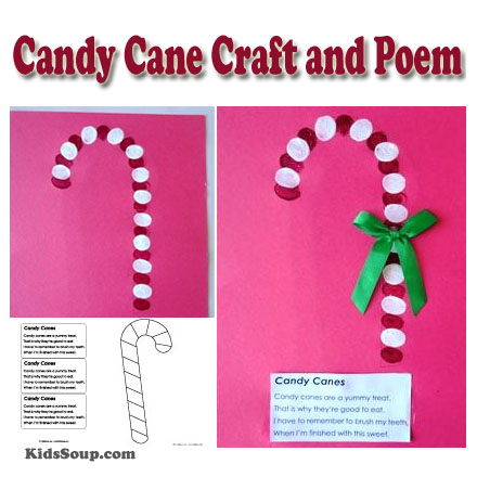 image relating to Candy Cane Poem Printable named Sweet Cane Craft and Poem KidsSoup
