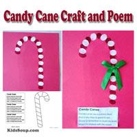 Preschool Kindergarten Candy Cane Artwork and Rhyme
