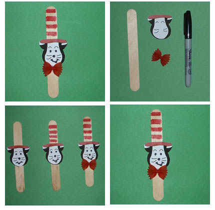 Cat in the Hat Stick Puppet craft and rhyme for preschool