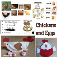 Chickens and eggs activities, games, and crafts for preschool and kindergarten