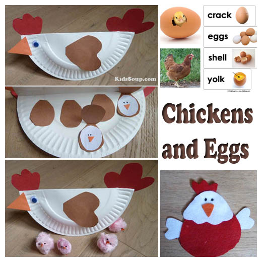 Chicken and eggs activities and crafts kidssoup for Rooster craft for kindergarten