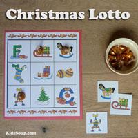Preschool Kindergarten Christmas Bingo Game printables
