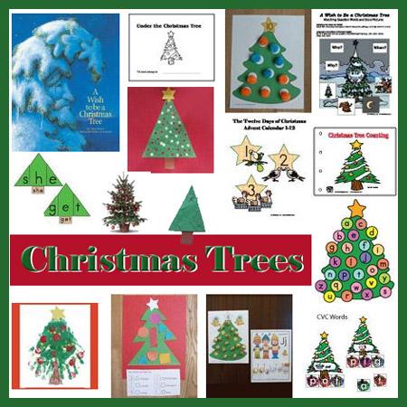 Preschool and kindergarten Christmas trees activities and crafts