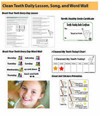 Brushing and dental health lesson and activities for preschool and kindergarten