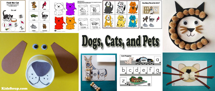 Preschool kindergarten dogs, cats, and pets activities and crafts