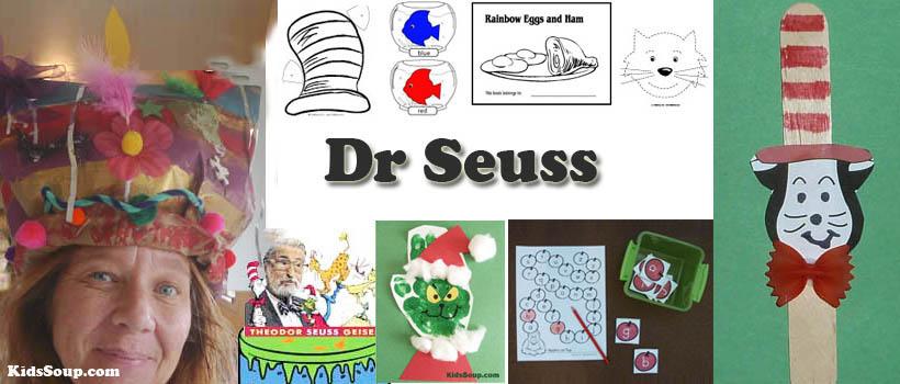preschool and kindergarten Dr. Seuss activities, crafts, and games