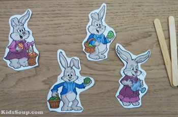 Easter Bunny puppet printables with craft sticks