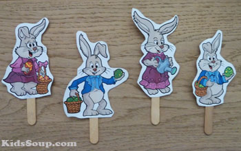 Easter Bunny craft stick puppet craft and printable