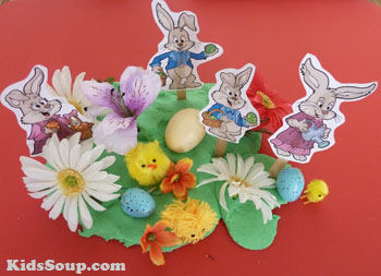 Preschool Easter Bunny small world play area idea