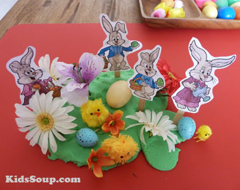 Easter Bunny small world play activity with play dough
