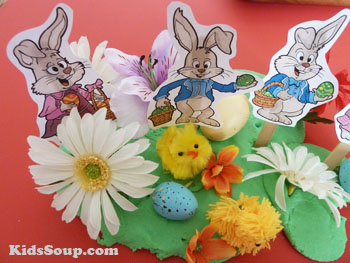 Preschool Easter Bunny small world play area fine motor skills activity