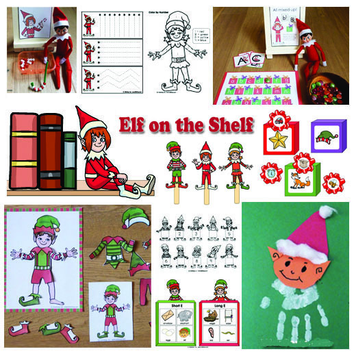 Elf on the Shelf in the Classroom Preschool activities and printables