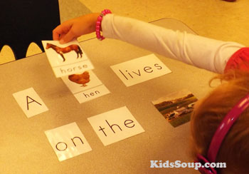 Farm animals reading activity for preschool and kindergarten