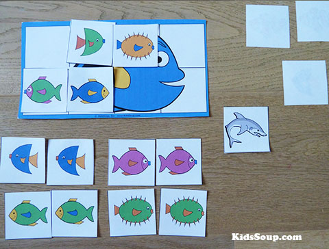 Finding Dory matching preschool and kindergarten game