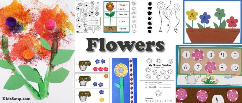 preschool and kindergarten flowers activities, crafts, and games