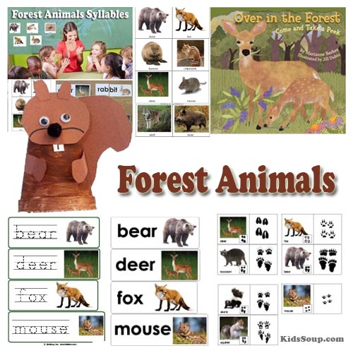 Forest Animals preschool activities, crafts, and lessons
