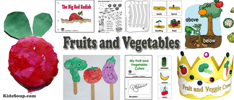 Preschool and kindergarten fruits and vegetables activities and crafts